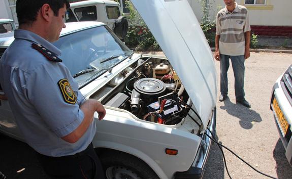 Azerbaijan Travel - Quba - Police Station - Jump Starting