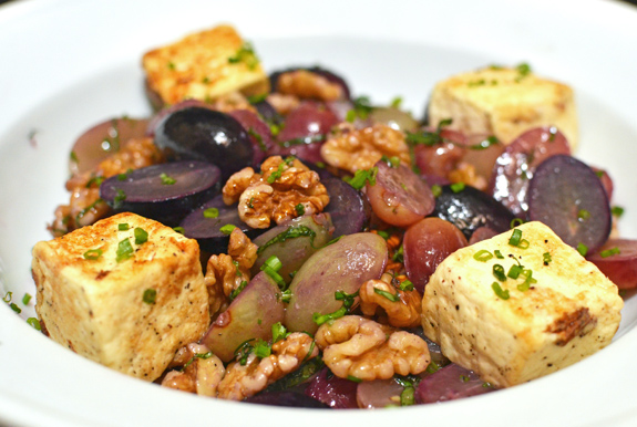 Georgian Food - Imeretian Cheese, Grape and Walnut Salad