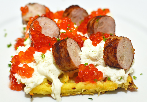 Salmon Roe and Potato Waffle