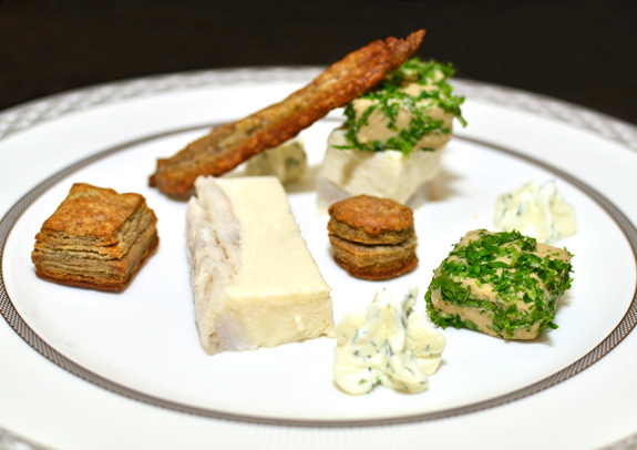 Russian Cuisine - Yellow Perch Mousse, Eggplant Caviar and Buckwheat Puffs