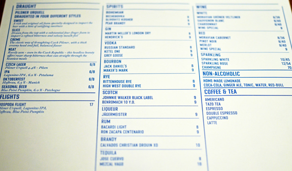 Czech Cuisine - Hospoda - Drink List