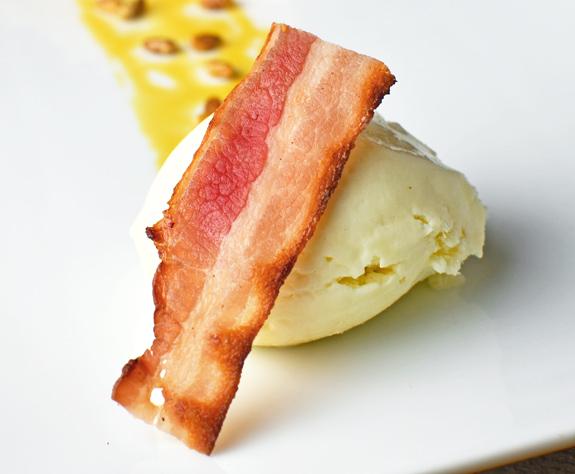 Russian Food - Kefir Ice Cream and Bacon